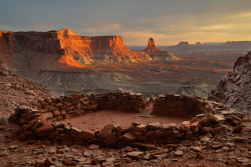 USA, Utah, Canyonlands National Park, View of False Kiva at Sunset