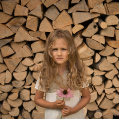 Portrait of girl (4-5) with pink flower against stack of logs