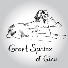 Great Sphinx of Giza. Sketch. Vector illustration.