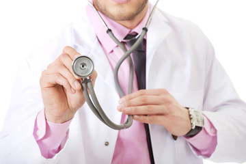Young happy male doctor with stethoscope.