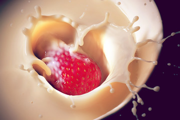 Strawberry Dropping Into Cream, Creating Heart-Shaped Splash