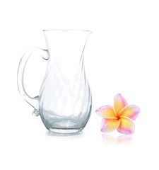Empty glass jar and colorful plumeria flower on white