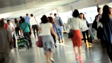 Hong Kong Business Commuters Walking Work
