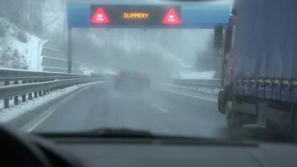 Driving under warning traffic lights