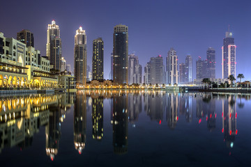 United Arab Emirates, Dubai, Cityscape with Burj Khalifa building at night
