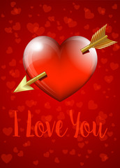 I Love You - Valentine Heart with Arrow Card