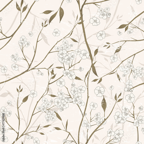elegant floral seamless pattern over beige © JoyImage