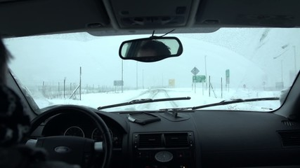 Traveling with a car on a snowy day