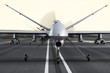 Military armed UAV drones preparing for takeoff on a runway - 77422686
