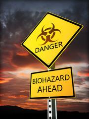 Warning bio hazard sign posted near the danger zone.