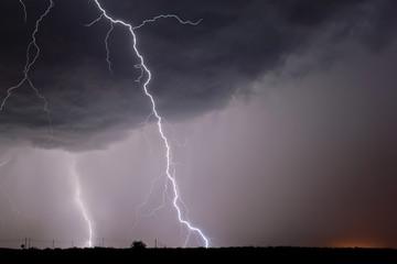 USA, Arizona, Lightning bolts striking near Highway 80