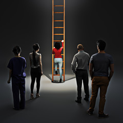 Woman climbing career ladder with people watching