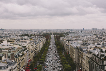 France, Paris, Elevated view of Champs- Elysees