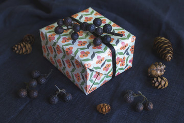 Gift box on black textile