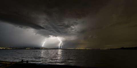 Lighting over lake