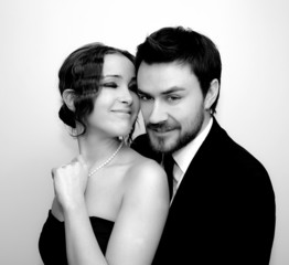 Studio portrait of happy couple