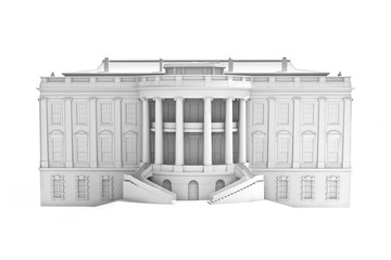 3d illustration of the White house on a white background.