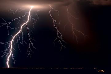 USA, Arizona, Maricopa County, Lightnings over Tonopah