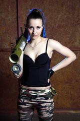 "Beautiful woman with russian bazooka RPG - 18 ""Muha"""