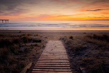 New Zealand, Christchurch, Beach at sunset