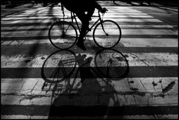 USA, New York City, Close up of cycling person