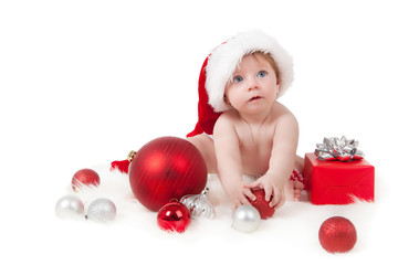 Baby (6-11 months) with Christmas decoration