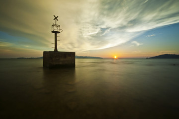 Malaysia, Sabah, Kota Kinabalu, Sunset over sea