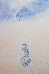 Indonesia, Bali, Padang, Footprints on sand