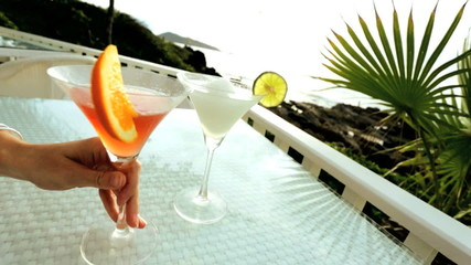 Tropical cocktail drinks beachside location
