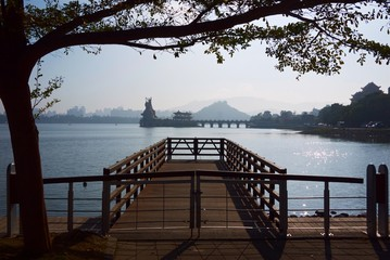Taiwan, Kaohsiung city, Zuoying old town, Wooden pier near lake in Taiwan