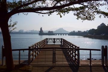 Taiwan, Kaohsiung city, Zuoying old town, Wooden pier near lake in Taiwan