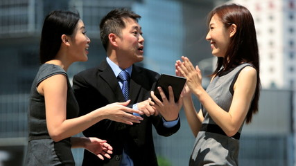 Team Asian Chinese Business People Congratulating Each Other
