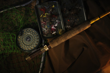 Fishing tackle, flies and rod