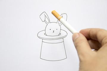 Conceptual magician's rabbit in hat