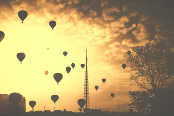 Brazil, Central-West Region, Brazil Federal District, DF, Brasilia, View of hot air balloons in sky