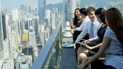 Group Young Ethnic Advertising Executives Rooftop Restaurant