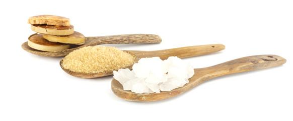 Many sugar  on white