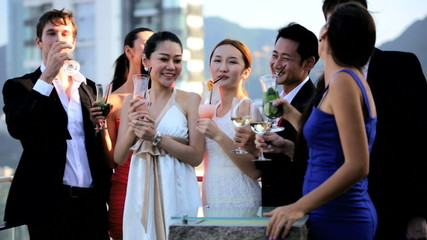 Young Multi Ethnic Business People Outdoors Rooftop Bar