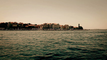 Shot of Piran,  taken from the moving boat