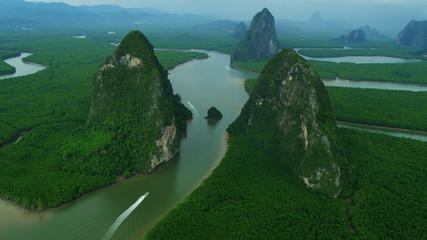 Aerial view Phang Nga Bay wetlands forestation, Thailand