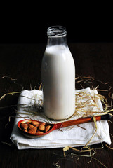 Fresh homemade almond milk in bottle