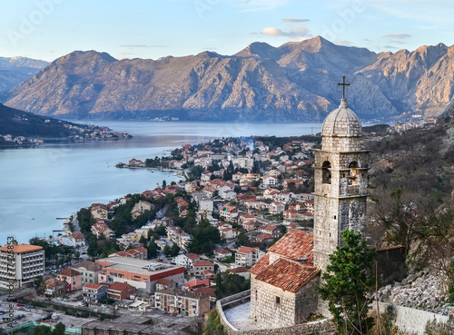 The view over Kotor, Montenegro, the old church, the bay and the - 77425853