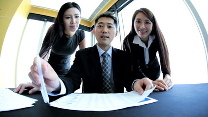 Asian Chinese Business Team Meeting via Video Uplink