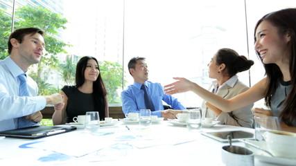 Handshake Between Caucasian Asian Chinese Business People