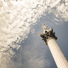 UK, London, Low angle view of Nelson's Column
