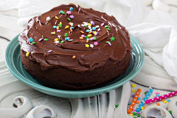 Chocolate sour cream cake with frosting