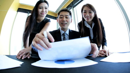 Asian Chinese Business People in Video Conference Meeting