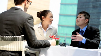 Outdoor Meeting Caucasian Consultant Asian Chinese Business People