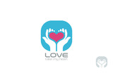 Hands holding Heart Logo design vector. Take my Love - 77426672