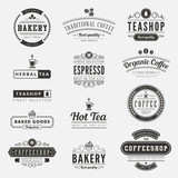 Coffee Retro Vintage Labels Logo design typography poster